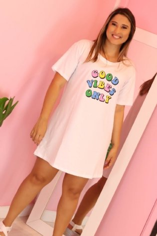 T Shirt Long Line Good Vibes Branco
