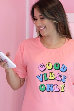 T Shirt Long Line Good Vibes Rosa