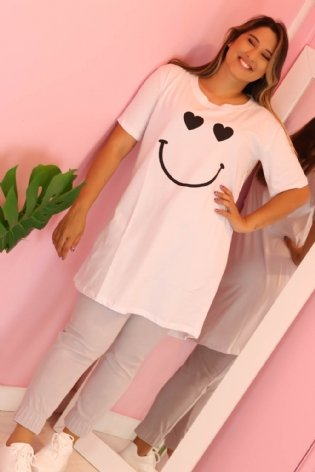 T shirt Long Line Smile Branco
