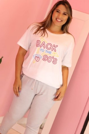 T Shirt Long Line Back 90 Branco